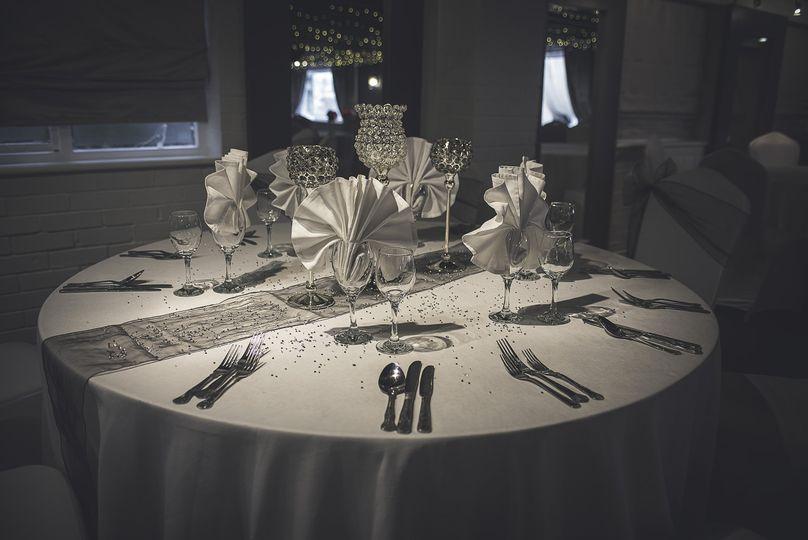 A wedding table set up