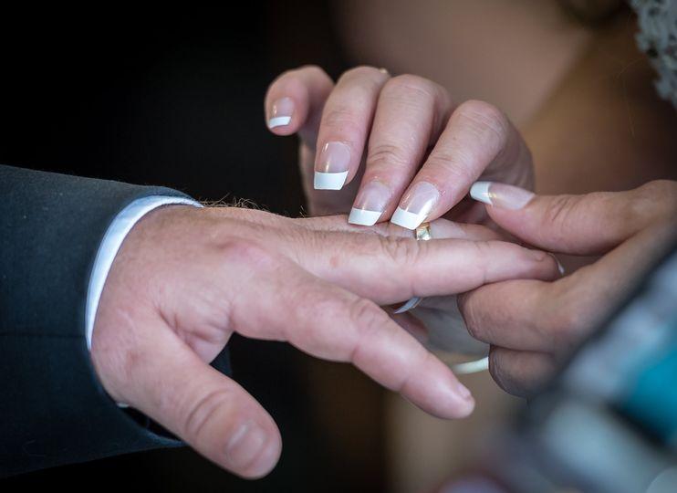 Close up of ring exchange