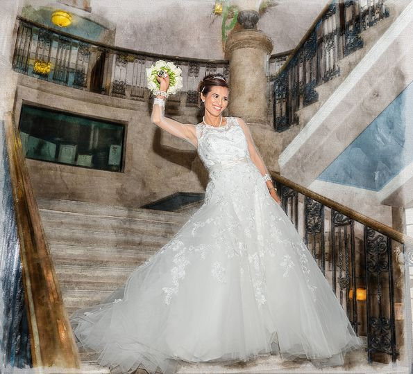 Bride at a town hall.