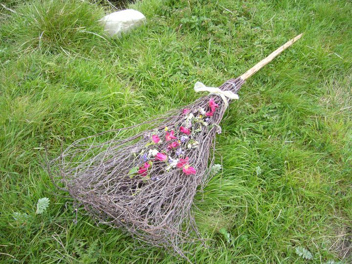 Decorated broom ready for jumping over