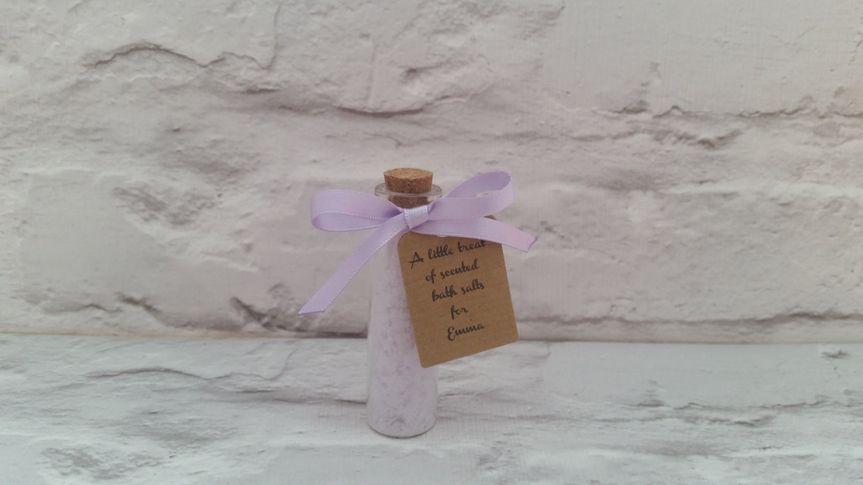 Bath salts in a jar and label