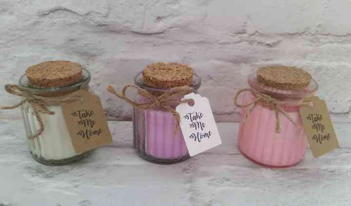 Scented candles and labels