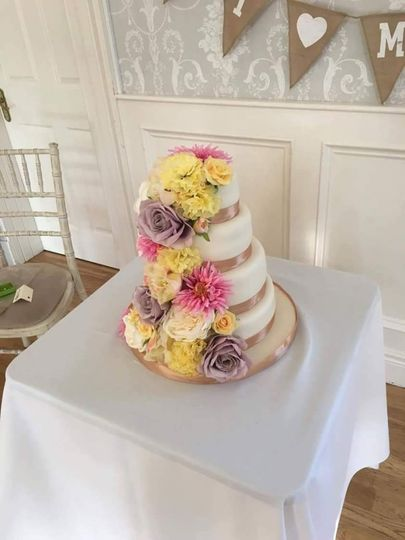 4 tier flowered