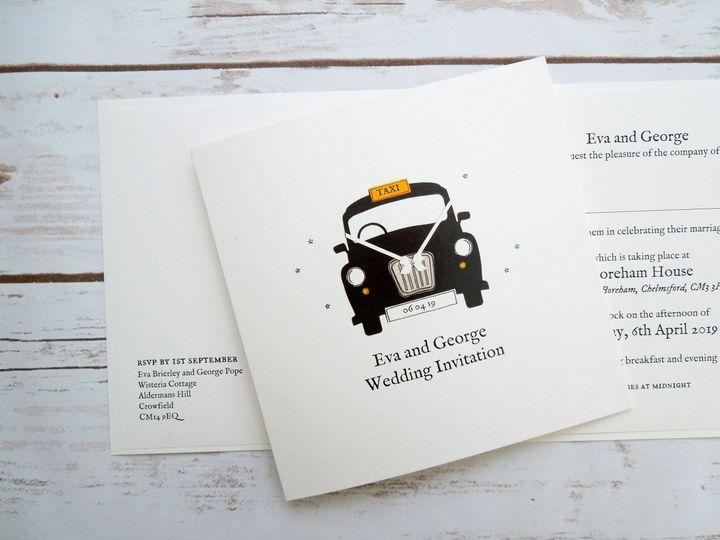 London Taxi Wedding Invitation