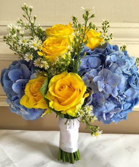 Blue hydrangea brides bouquet
