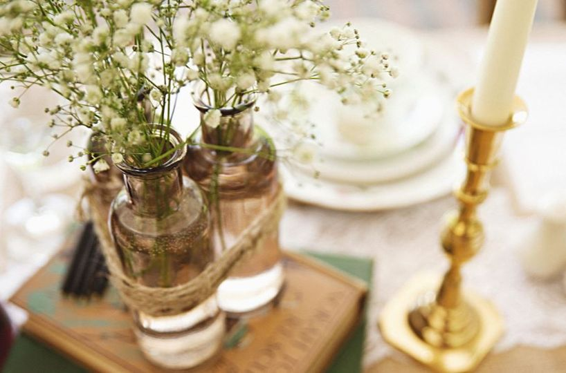 Jars with Gypsophilia