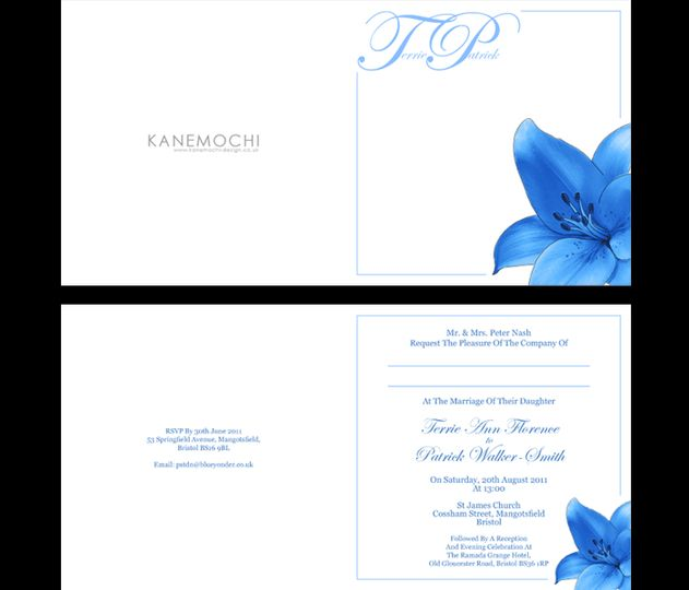Blue lilly day invitations