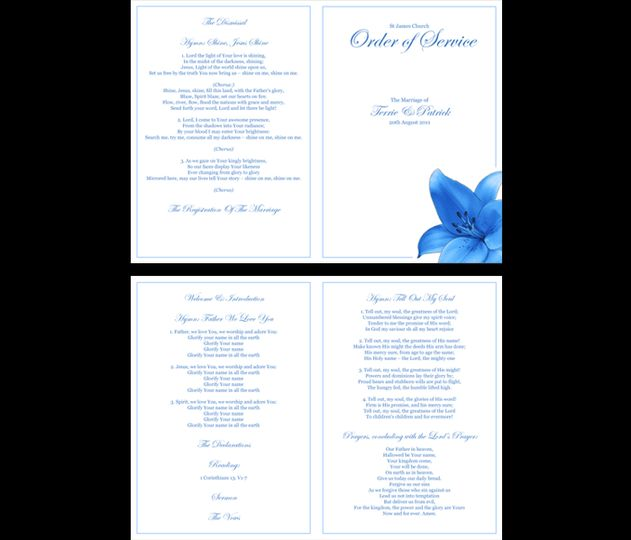 Blue lilly order of service