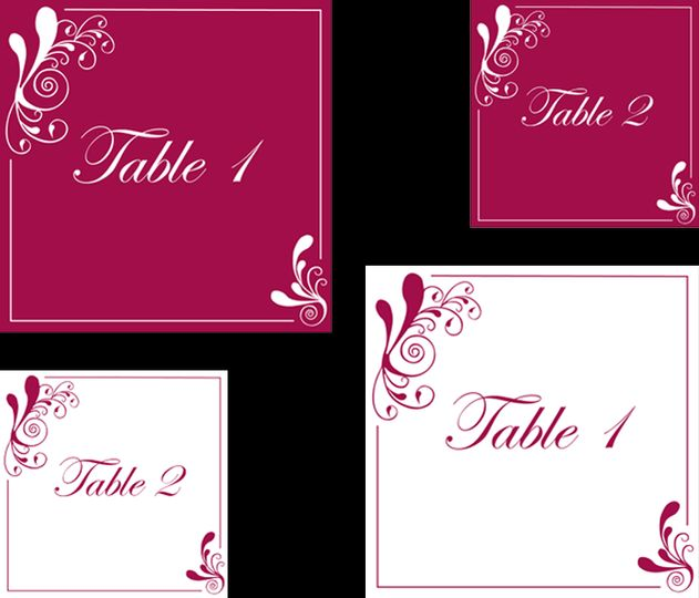 Red swirl table numbers