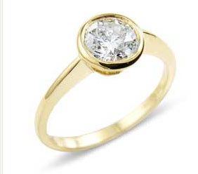 Set diamond solitaire ring