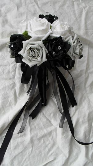 Black, white and silver bridesmaids