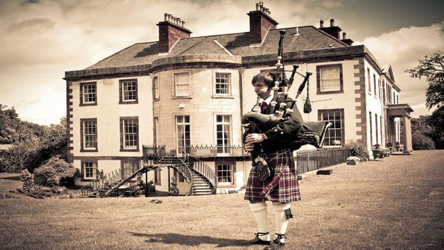 Piper outside Broxmouth House