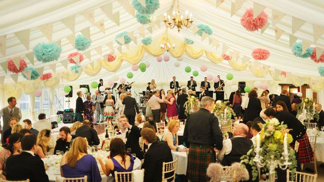 Wedding party in marquee