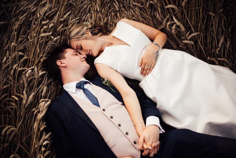 Couple in wheat field