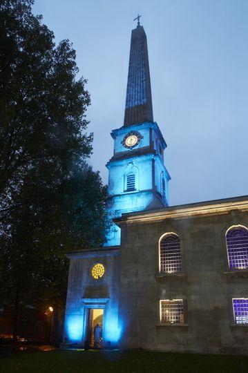 External blue spire
