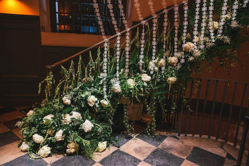 Floral garland in entrance