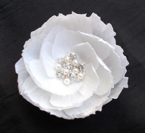 Jewelled silk flower
