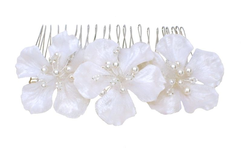 Ivory floral comb