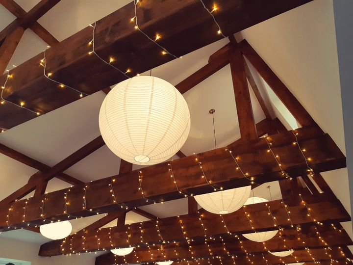 Twinkling lights in the beams
