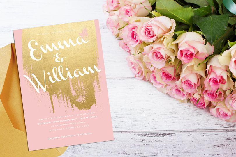 Blush & Gold Foil Invitition