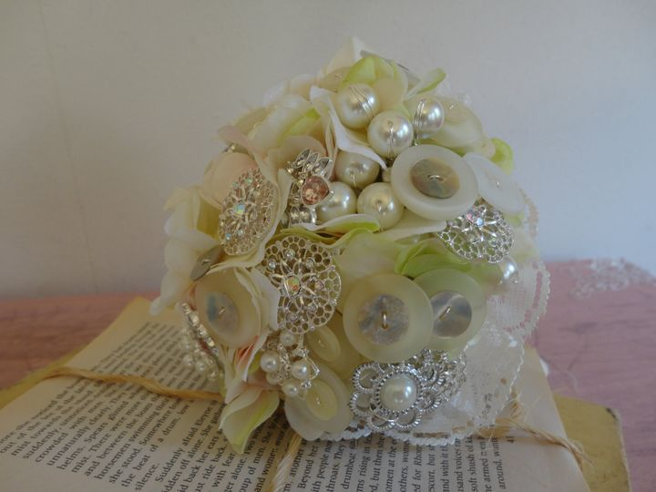 Button and broach bouquet