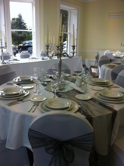 White covers & candelabra