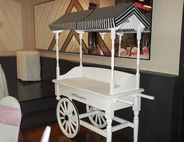 Pinstripe canopy candy cart