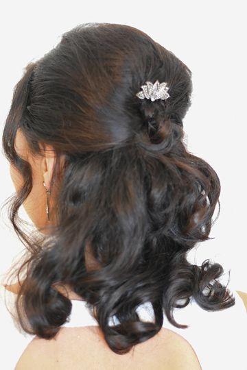 Half up -half down hairstyle