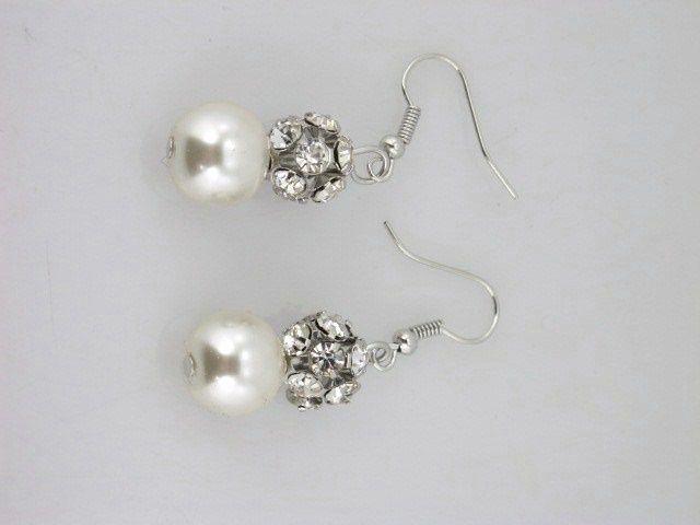 Glass pearl crystal earrings