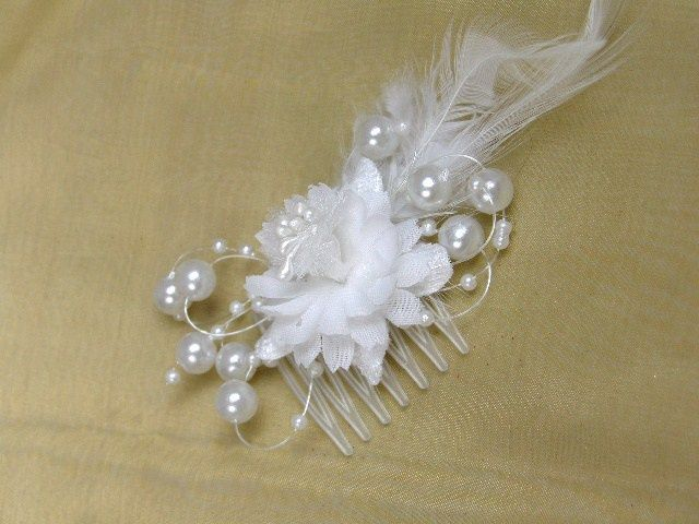 White organza flower faux pearl feather delicate bridal hair combs