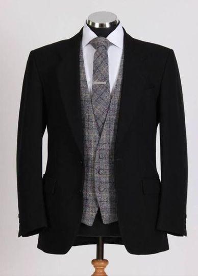 Jet black two piece flannel bespoke suit
