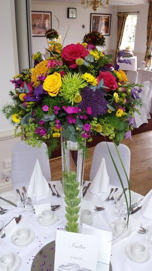 Colourful tall arrangements