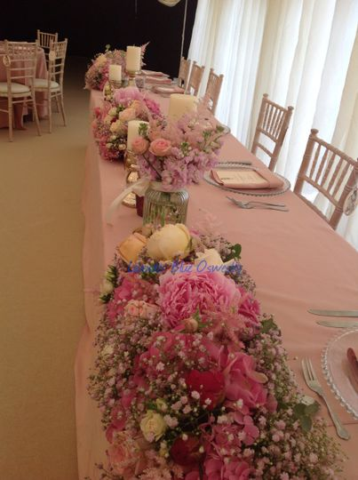 Massed flower top table