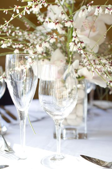 Delicate centrepiece - orchids and ganister