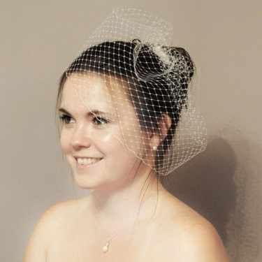 White or ivory birdcage veil