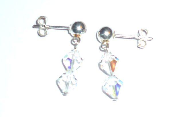 Vintage crystal & silver stud earrings