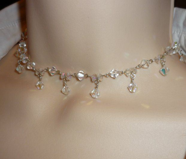 Vintage crystal & silver handmade necklace set