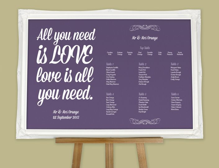 All You Need Is Love Wedding Invitations: Wedding Table Plans