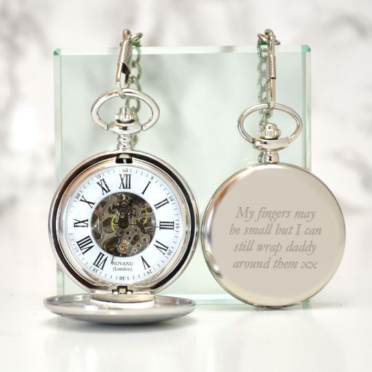 Engraved skeleton pocket watch