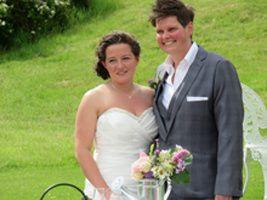 Happy bride and bride