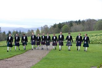 Dutch men in Scottish kilts