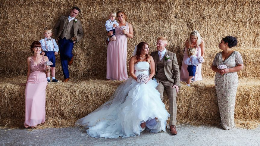 Bridal party on hay bales