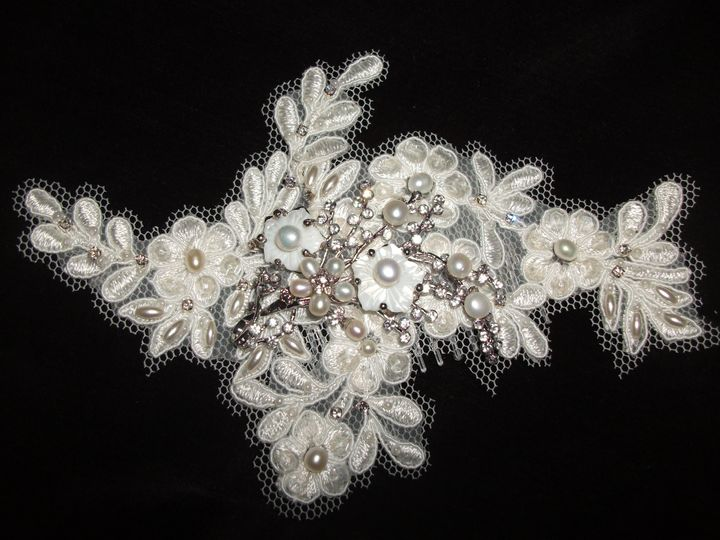 Hand beaded Alencon Lace