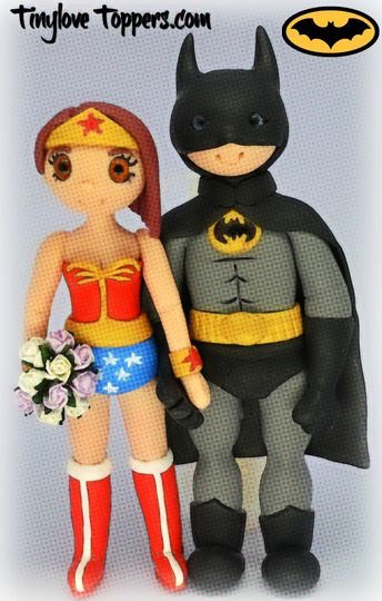 Wonder woman & Batman cake Top from Tinylove Wedding Cake Toppers ...