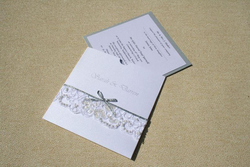 White and silver invitation