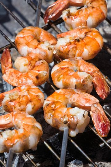 Grilled prawns on barbecue