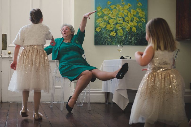 Laughing Grandma at wedding