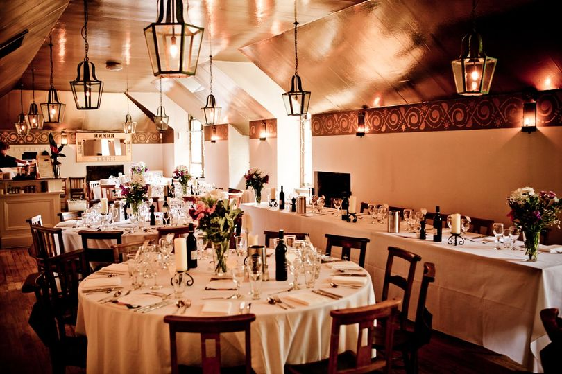 Restaurant set for a wedding