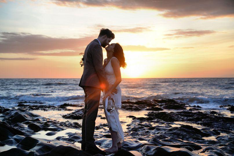 Beach, sunset and love
