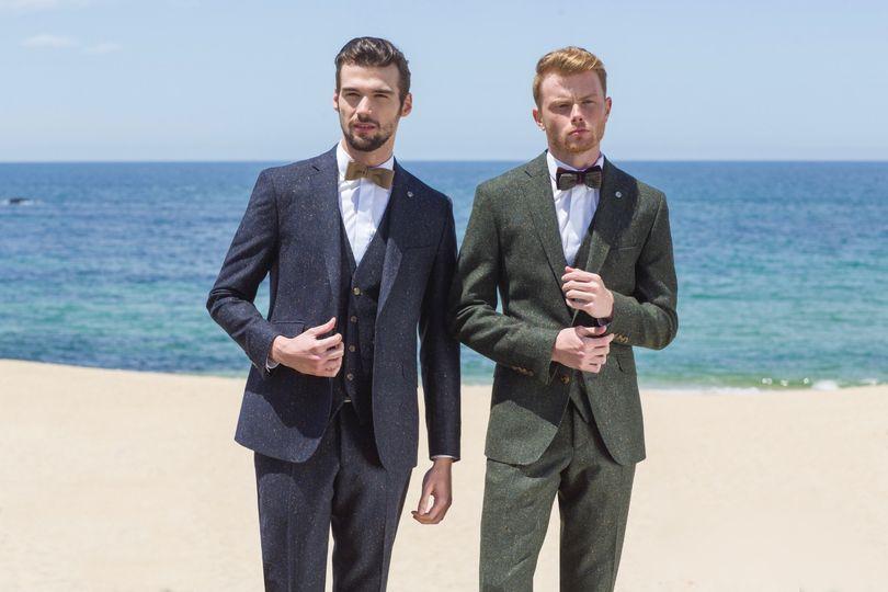 Navy & Olive Green Tweed Suits